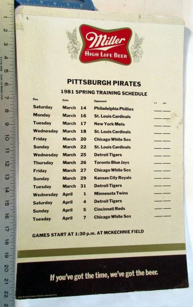(2) Pittsburgh Pirates Spring Training - Miller Beer - cardboard poster schedules lot - 1980 & 1981