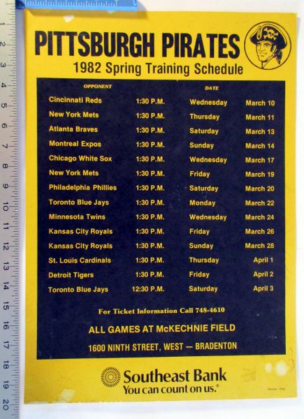 (4) Pittsburgh Pirates Spring Training cardboard schedules lot -1981, 2, 3, 5
