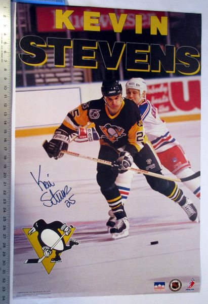 Kevin Stevens - Pittsburgh Penguins signed poster