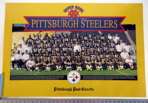1996 Pittsburgh Steelers Super Bowl 30 team poster