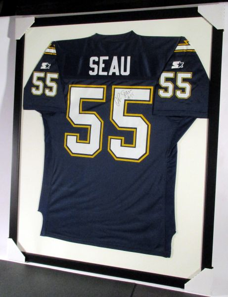 Junior Seau - San Diego Chargers, signed framed jersey