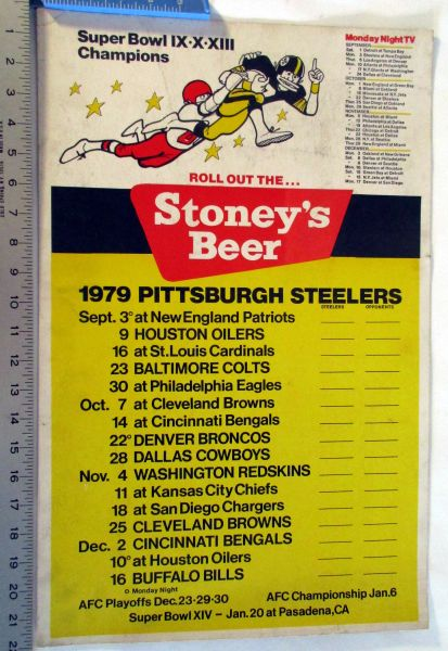 1979 Pittsburgh Steelers Stoney's Beer schedule