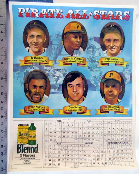 Blend Drink - Pittsburgh Pirates poster & schedule - 1970's