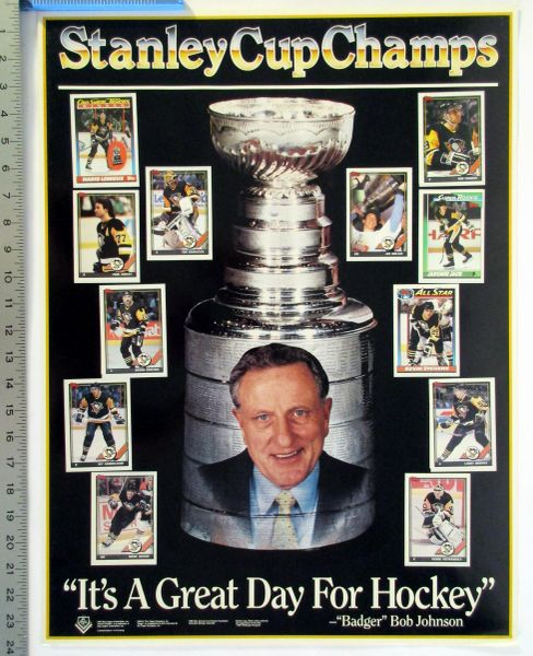 1990-91 Pittsburgh Penguins, Bob Johnson - Stanley Cup Champs poster