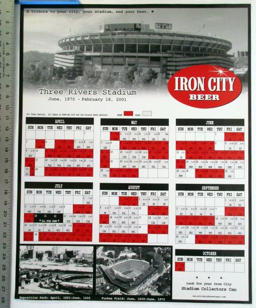 2001 Pittsburgh Pirates -Three Rivers Stadium - Iron City Beer commemorative schedule poster