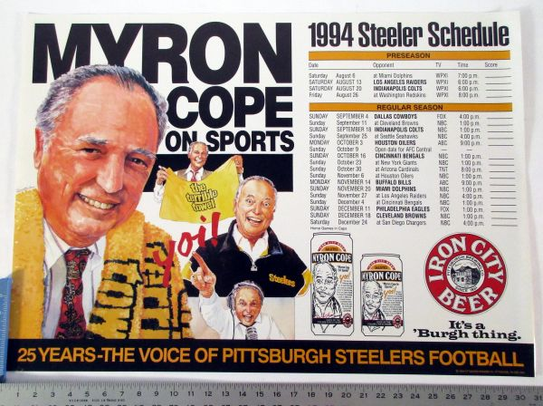 Myron Cope - 1994 Pittsburgh Steelers schedule poster