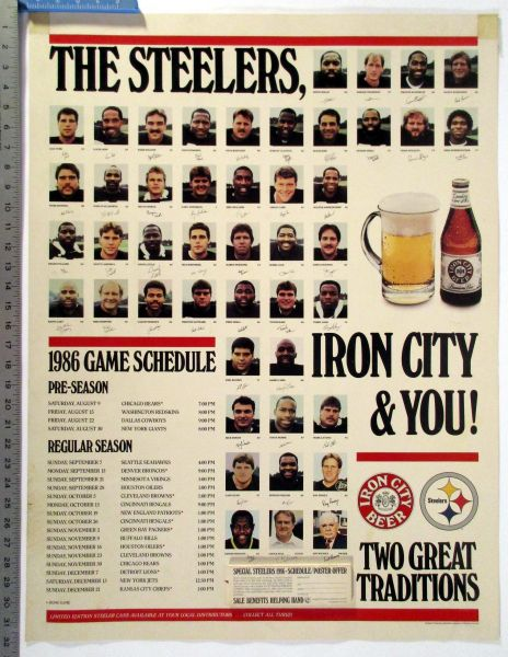 1986 Pittsburgh Steelers - Iron City Beer schedule poster