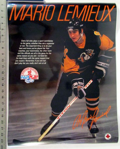 "Mario Lemieux - Pittsburgh Penguins - circa 1985-86 Canadian ""Fair Play"" poster"