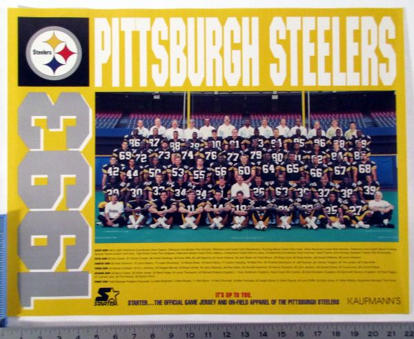 1993 Pittsburgh Steelers team photo poster