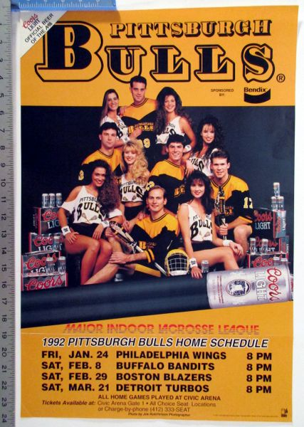 1992 Pittsburgh Bulls Lacrosse schedule poster