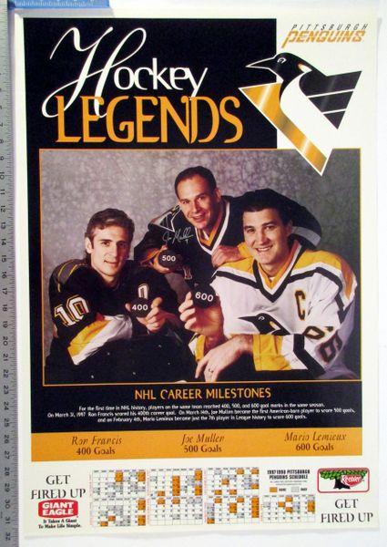 (2) 1997-98 Ron Francis - Joe Mullen - Mario Lemieux Penguins schedule posters