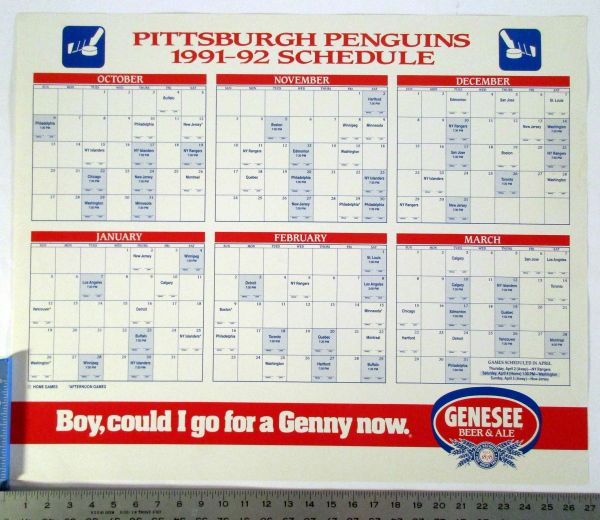 1991-92 Pittsburgh Penguins Genesee Beer schedule