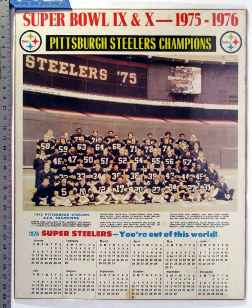 Super Bowls IX & X - Pittsburgh Steelers poster - 1976 calendar