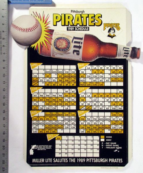 1989 Pittsburgh Pirates - Miller Lite beer cardboard schedule