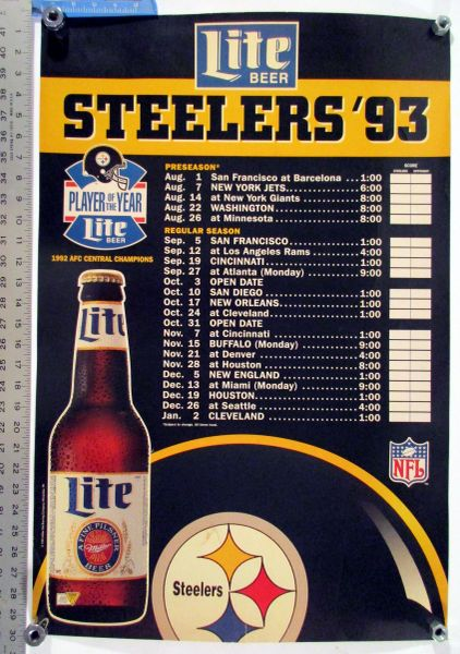1993 Pittsburgh Steelers - Miller Lite beer schedule poster
