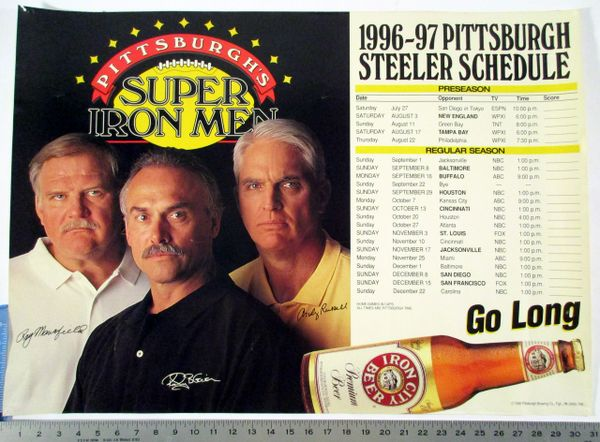 1996-97 Pittsburgh Steelers - Iron City beer poster schedule