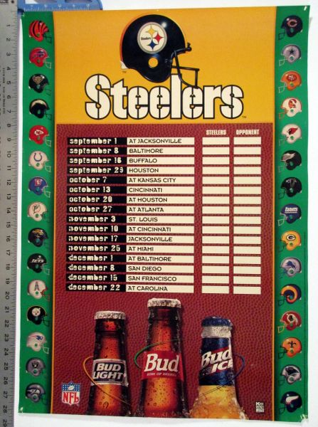1980's Pittsburgh Steelers schedule poster