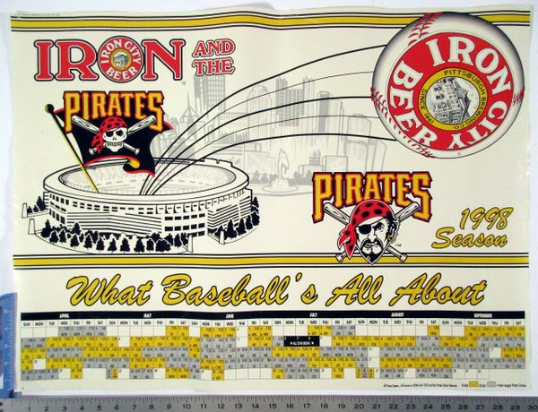 1998 Pittsburgh Pirates - Iron City beer schedule poster