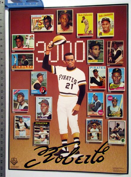 Roberto Clemente baseball card sticker poster