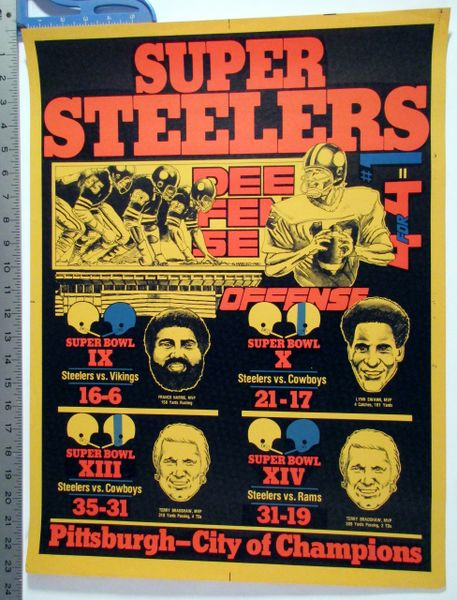 1980 Pittsburgh Steelers Super Bowl 9-10-13-14 poster