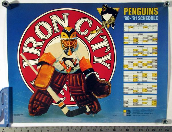 1990-91 Pittsburgh Penguins - Iron City Beer schedule poster (Stanley Cup)