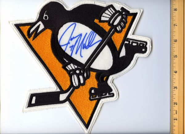 Joe Mullen #7 signed Penguins jersey crest patch