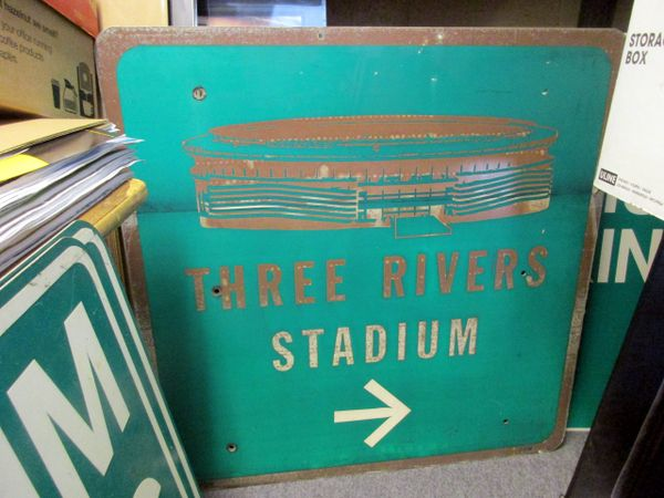 Three Rivers Stadium City of Pgh. directional sign