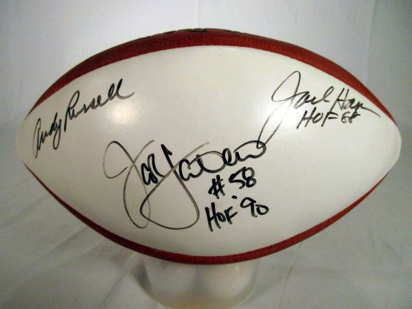 Jack Lambert, Jack Ham, Any Russell Steelers signed football