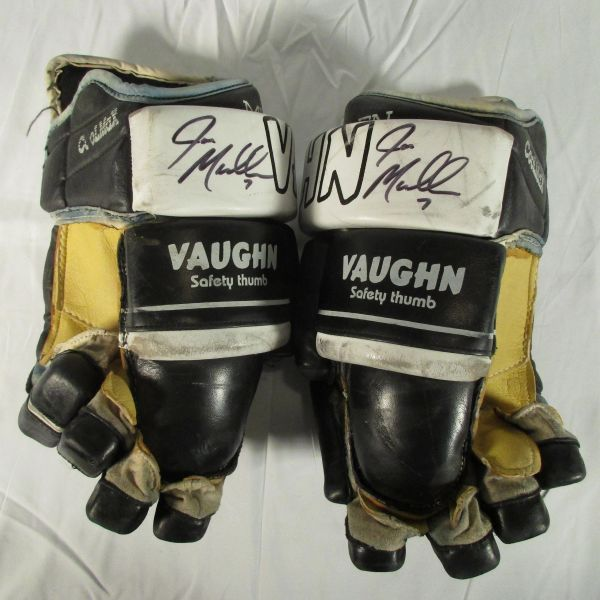 Joe Mullen Pittsburgh Penguins early 1990's signed, game used gloves