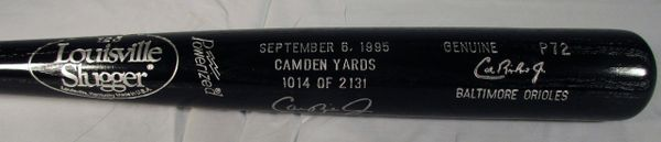 Cal Ripken Baltimore Orioles - signed, commemorative consecutive game streak bat