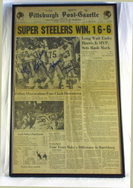 Super Bowl 9 - Steelers vs. Vikings - Signed by Greene, Greenwood, Holmes, Wagner