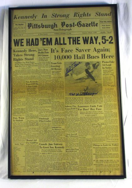 1960 World Series - Pirates vs. Yankees - Signed by Elroy Face