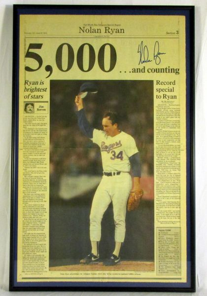 Nolan Ryan - Texas Rangers - framed, signed newspaper