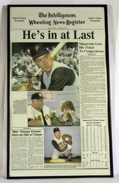 HOF Bill Mazeroski - Pittsburgh Pirates - signed, framed newspaper