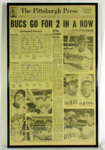 1971 World Series - Pirates vs. Orioles framed newspaper