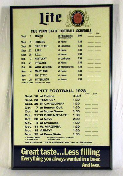1978 Pitt & Penn State - Miller Lite - football schedule