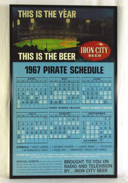 1967 Pittsburgh Pirates - Iron City Beer - schedule - Forbes Field