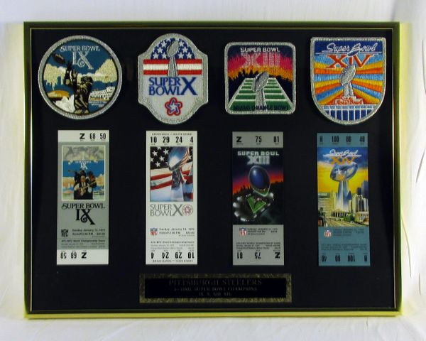 1970's Pittsburgh Steelers - Super Bowl 9-10-13-14 - Tickets & Patches Display