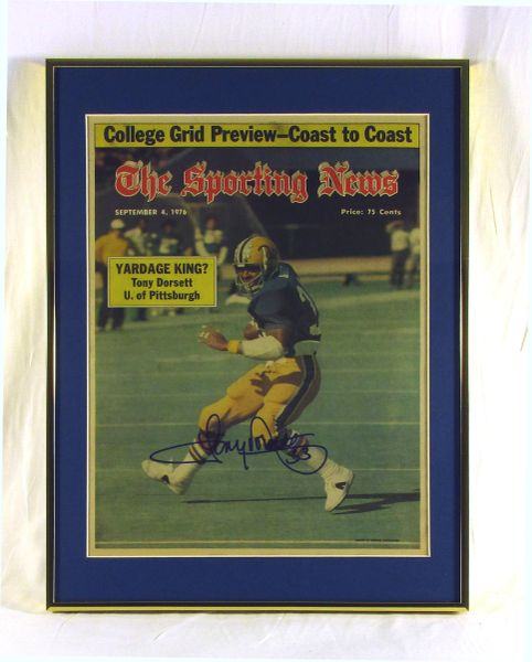 Tony Dorsett - Pitt Panthers - framed & signed Sporting News