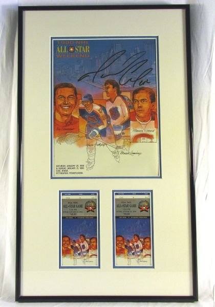 1989 NHL All-Star game - program & tickets display - signed by Mario Lemieux