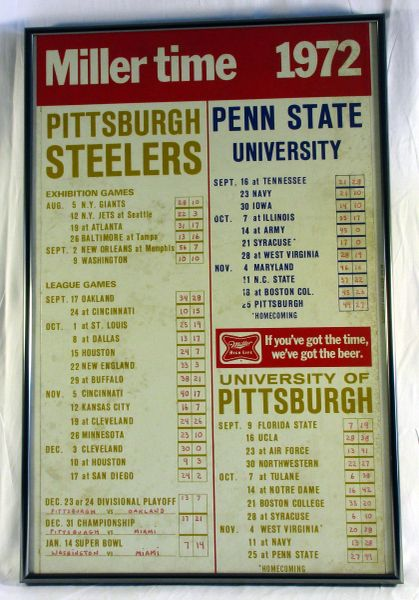 1972 Miller Beer - Steelers - Penn State - Pitt football schedule
