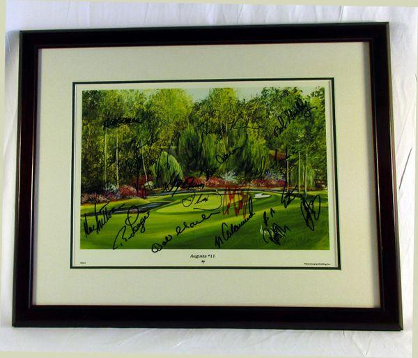1999 Masters Golf multi signed litho, Hole #11 - see list