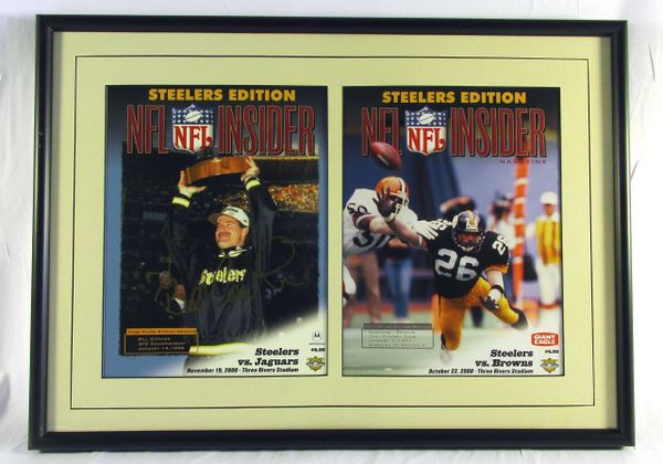 (2) Pittsburgh Steelers - matted & framed programs - one signed by Bill Cowher