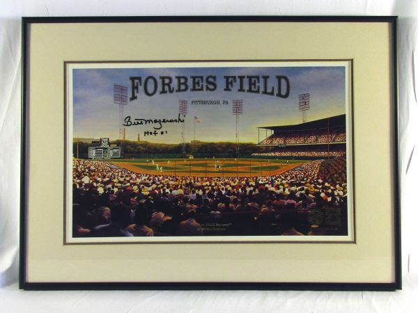 Bill Mazeroski, Pittsburgh Pirates - signed Forbes Field litho