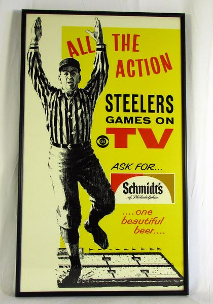 Schmidt's Beer - Pittsburgh Steelers - 1960's advertising cardboard poster