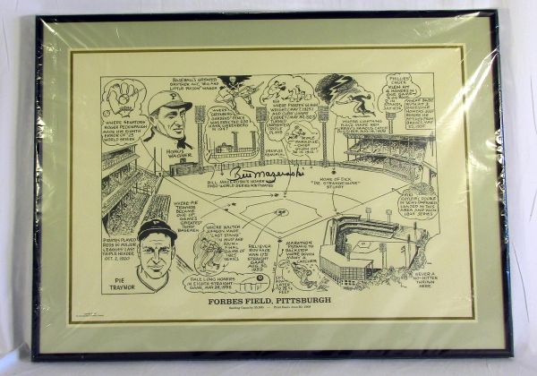 Pittsburgh Pirates, Forbes Field trivia litho - signed by Bill Mazeroski