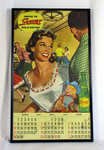 1957 Squirt advertising display & calendar