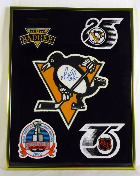Pittsburgh Penguins, 1991-92 patches - w/Pens crest signed by Mario Lemieux