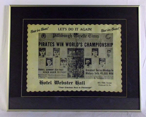 Commemorative 1925 Pittsburgh Pirates place mat - from Webster Hall Hotel - circa 1960