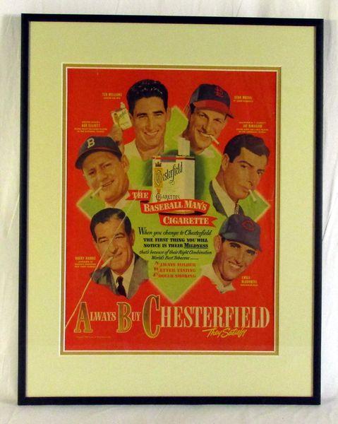 Chesterfield cigarettes original advertising display - Musial, DiMaggio, TWilliams, etc.